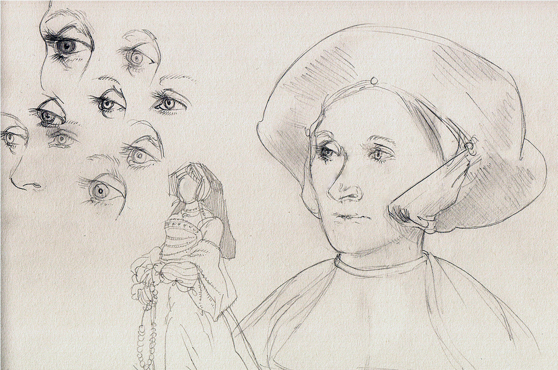 Pencil sketches after Holbein