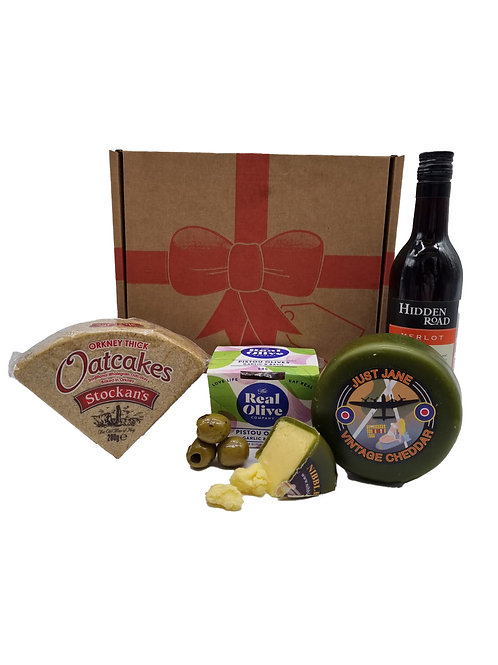 CHEESE, OLIVE AND WINE GIFT BOX