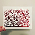 Postcard - Native flowers in red foil