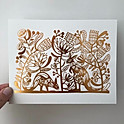 Postcard - Kangaroos & native flowers in gold foil
