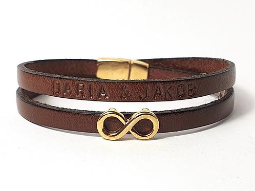 Infinity Leder Armband mit Wunschtext