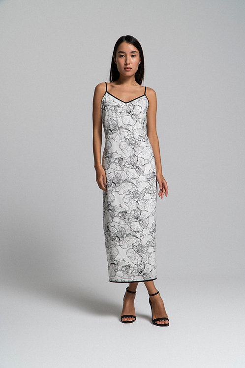 Платье-комбинация с принтом