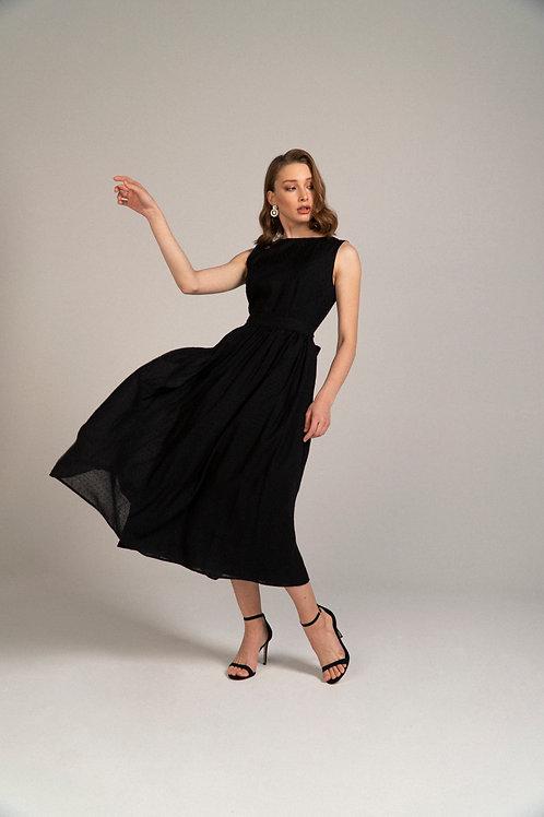 Шифоновое платье с флоковым горошком