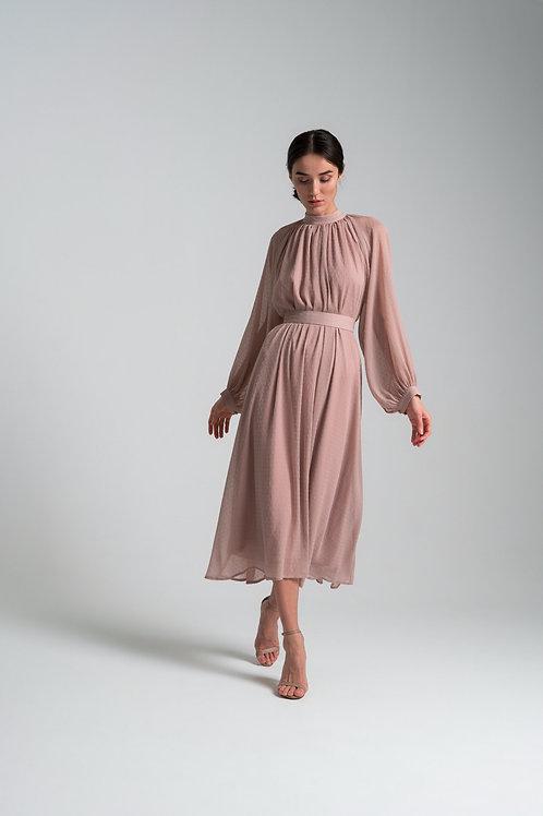 Платье из крэш-шифона с флоком