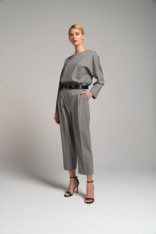 Костюм из шерсти: брюки-бананы + блуза свободного кроя