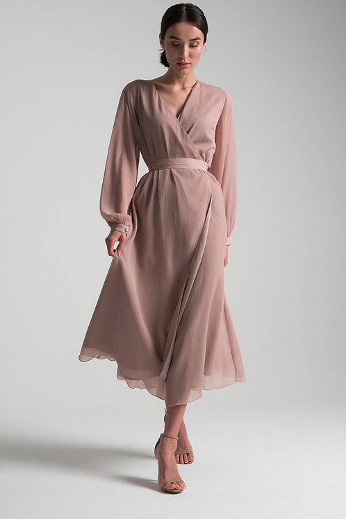 Шифоновое платье на запахе