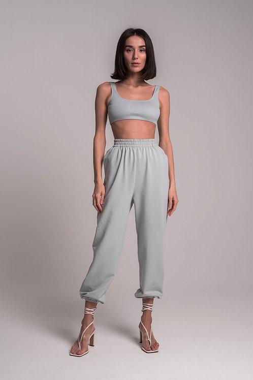 Трикотажные брюки с высокой посадкой