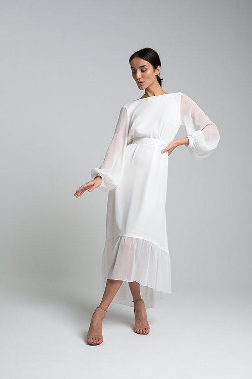 Платье из крэш-шифона с открытой спиной