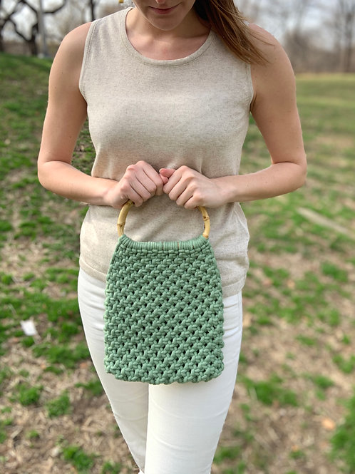 Macrame Purse in Eucalyptus by Alexandra