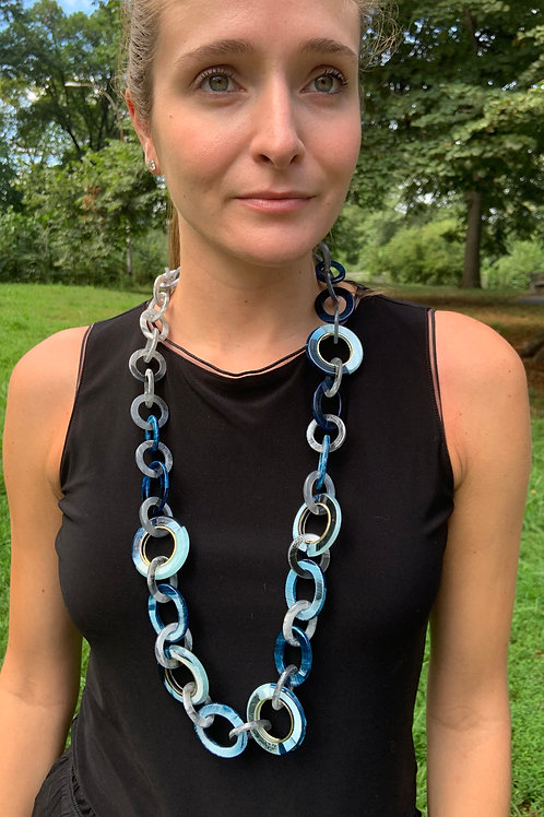 Blue Resin Link Necklace