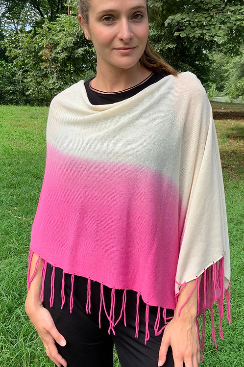 Dip Dye Silk Cashmere Poncho