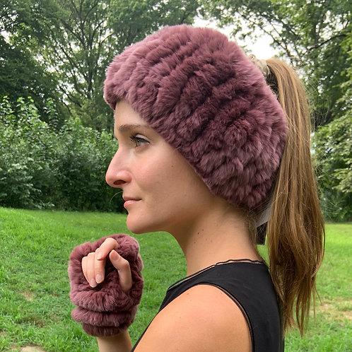 Diana Rosh Fur Headband/Cuff Sets Purples, Pink, Reds