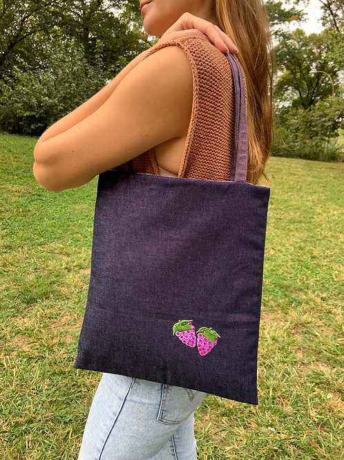 Purple Denim Tote and Pouch Set