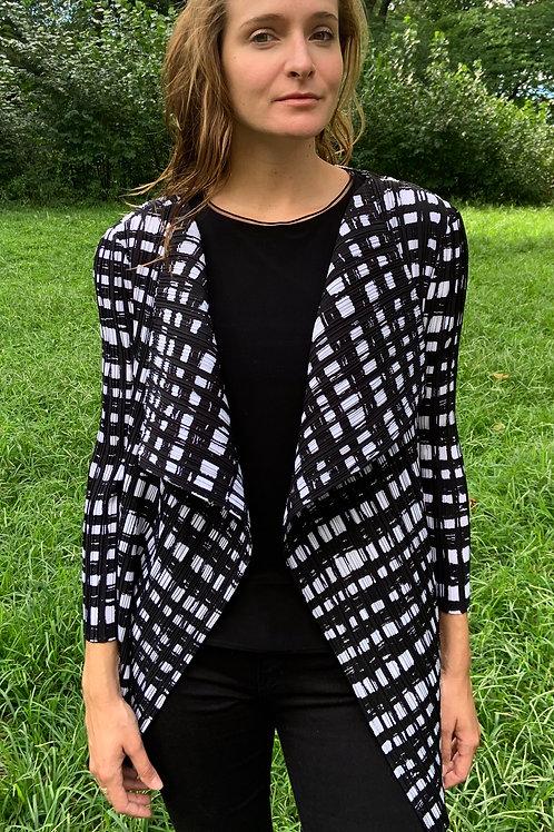 Black and White Pleated Jacket