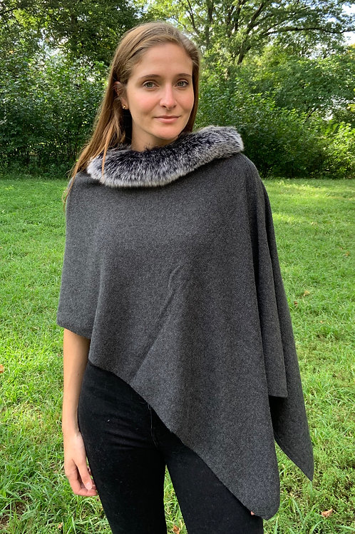 Luxe Cashmere Topper With Fox Trim