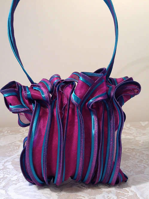 Magenta and Turquoise Silk Bag