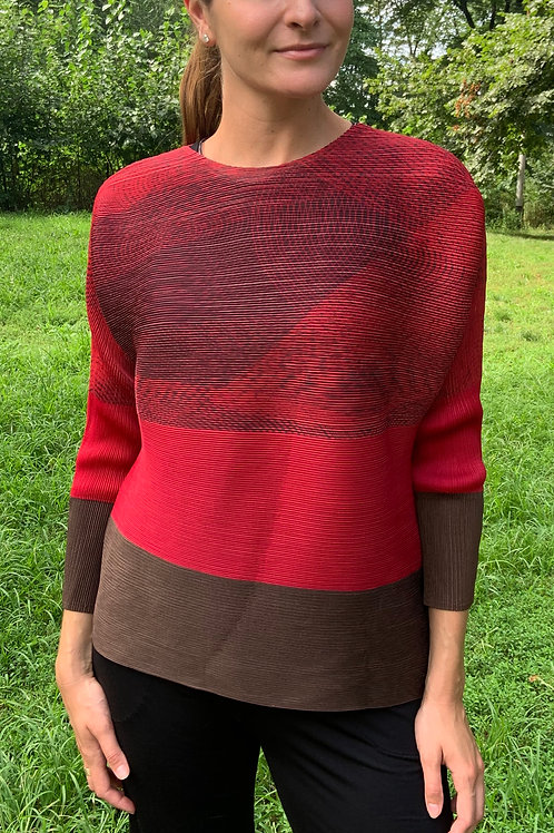 Pleated Red and Brown Top