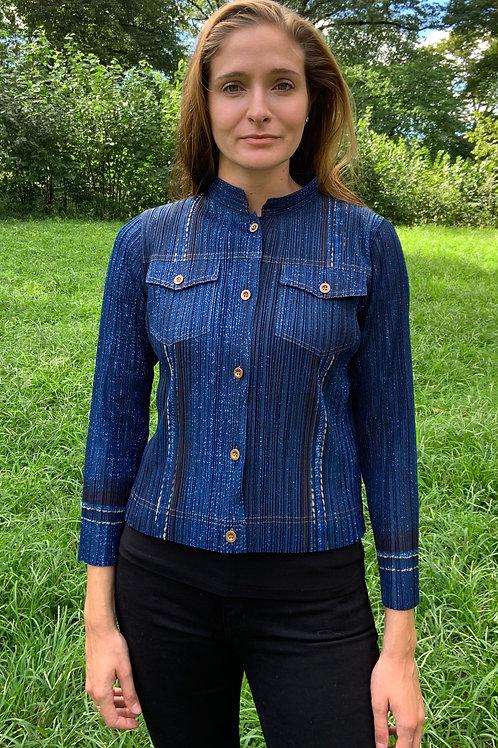 Short Denim Pleated Jacket