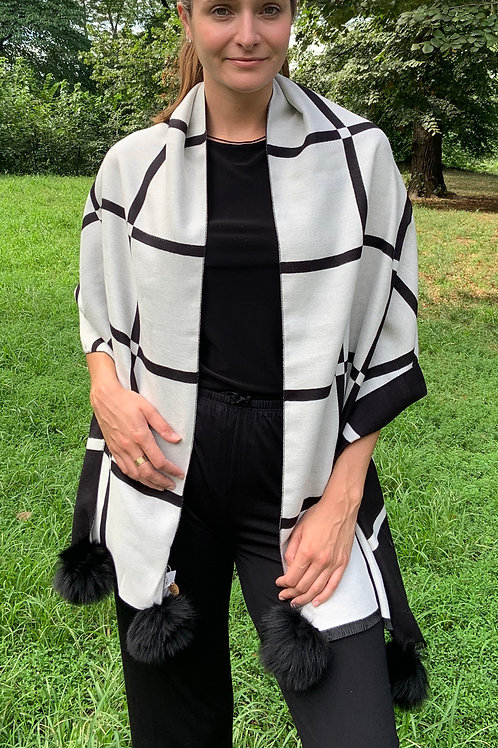 Black and White Reversible Wrap