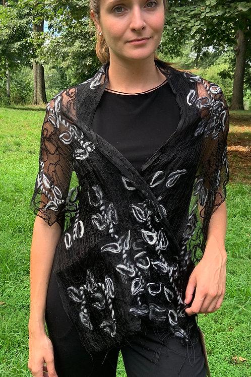 Black With White Swirls Silk Scarf