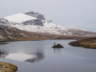 The Old Man of Storr stands out in the distance on the Isle od Skye (Scotland).