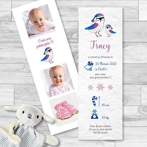 """Faire-part de naissance """"Lovely bird"""" pour bébé fille. Oiseaux d'hiver réalisé à l'aquarelle, flocons de neige, rose, bleu."""