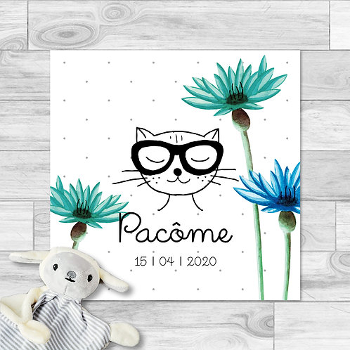 """Faire-part de naissance """"Little cat"""" pour bébé garçon. Chat, fleurs, fait à l'aquarelle, bleu, turquoise, printemps, été."""