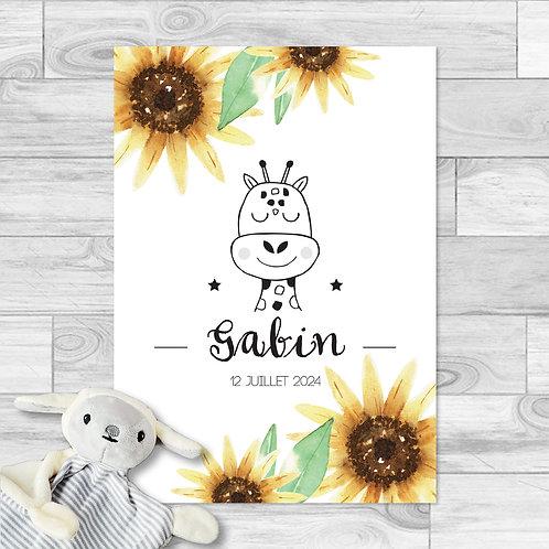 "Faire-part de naissance ""Little girafe"" pour bébé garçon. Girafe, fleurs de tournesol, jaune, marron, été."