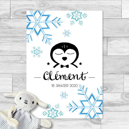 """Faire-part de naissance """"Little pingouin"""" pour bébé garçon. Pingouin, flocon de neige, aquarelle, bleu, turquoise, hiver."""