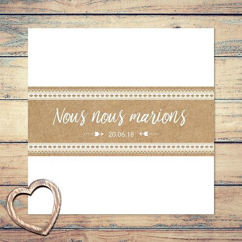 """Faire-part de mariage """"dentelles et kraft"""". Dentelles blanches, papier kraft original, champêtre chic."""