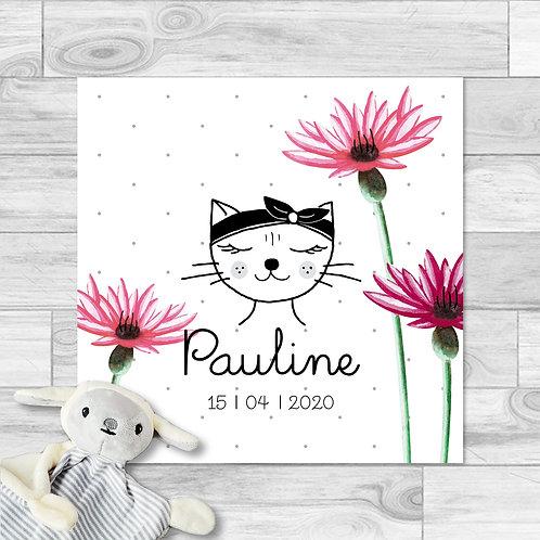 """Faire-part de naissance """"Little cat"""" pour bébé fille. Chat, fleurs, fait à aquarelle, prune, rose bonbon, printemps, été."""