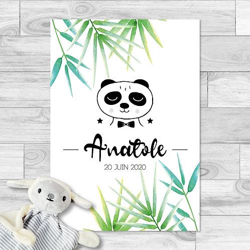 """Faire-part de naissance """"Little panda"""" pour bébé garçon. Panda, feuilles de bambou, vert, printemps, été."""