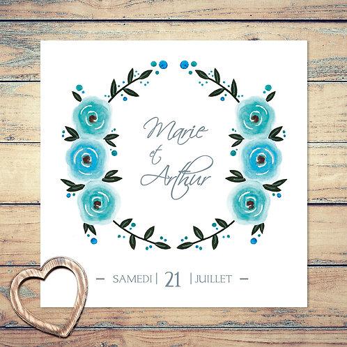 """Faire part de mariage """"bouquet de roses"""". Couronne, fleurs, roses, bleu, turquoise."""