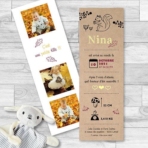 """Faire-part de naissance """"sweet quirrel"""" pour bébé fille, saison automne. Ecureuil, feuilles, effet papier kraft, champignons."""