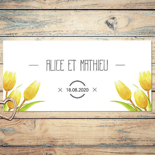 """Faire-part de mariage """"les tulipes"""". Les fleurs sont réalisées à l'aquarelle."""