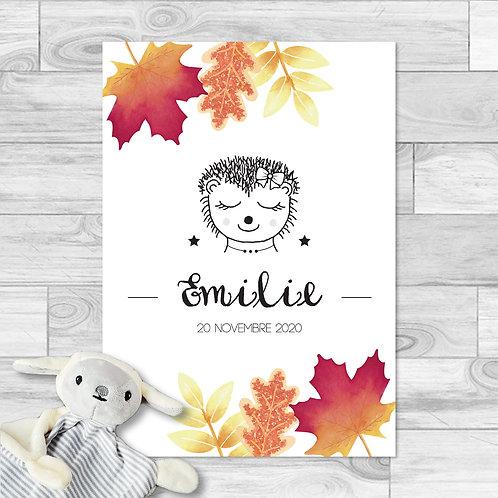 """Faire-part de naissance """"Little choupisson"""" pour bébé fille. Hérisson, feuilles d'automne aquarelle, rouge, orange, automne."""