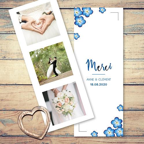 """Carte de remerciement mariage """"les myosotis"""". Les fleurs de myosotis sont peint à l'aquarelle. Mariage champêtre chic."""