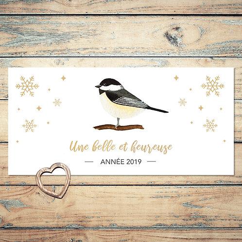 """Carte de voeux 2019 """"douce mésange"""". Bonne année, voeux, mésange, hiver, oiseau, aquarelle."""