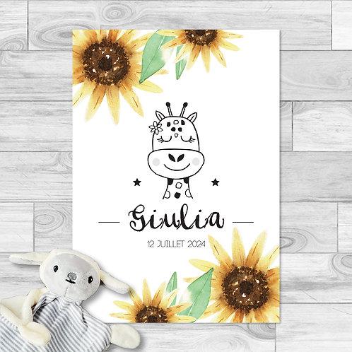 """Faire-part de naissance """"Little girafe"""" pour bébé fille. Girafe, fleurs de tournesol, jaune, marron, été."""