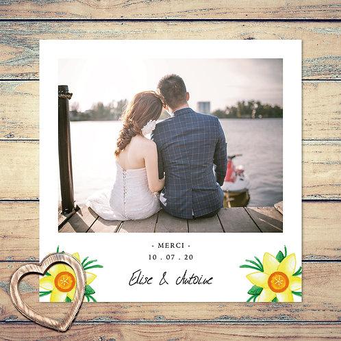 """Carte de remerciement mariage """"douce jonquilles"""". Fleurs, jonquille, aquarelle, jaune, feuilles, vert."""