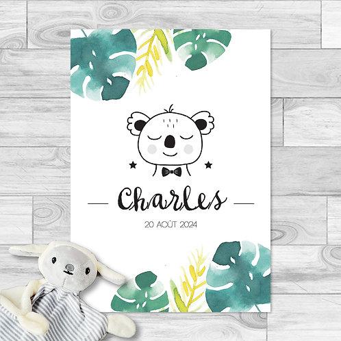 """Faire-part de naissance """"Little koala"""" pour bébé garçon. Koala, feuille de monstera, palmier, jaune, vert, été."""