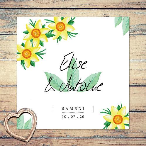"Faire-part de mariage ""douce jonquilles"". Mariage, fleurs, jonquille, aquarelle, jaune, feuilles, vert."