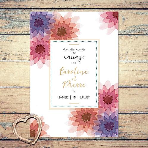 """Faire-part de mariage """"les dahlias"""". Les fleurs de dahlias sont peint à l'aquarelle. Mariage champêtre chic."""