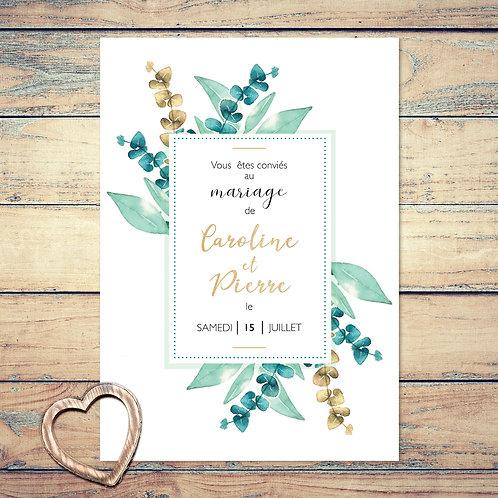 """Faire-part de mariage """"brin d'eucalyptus"""". Les feuilles sont peint à l'aquarelle. Écriture doré. Mariage champêtre chic."""