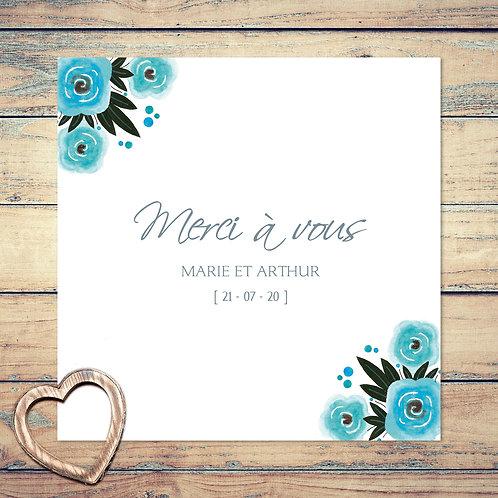 """Carte de remerciement mariage """"bouquet de roses"""". Couronne, fleurs, roses, bleu, turquoise."""