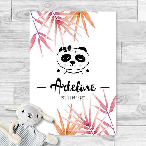 """Faire-part de naissance """"Little panda"""" pour bébé fille. Panda, feuilles de bambou, rose, orange, printemps, été."""