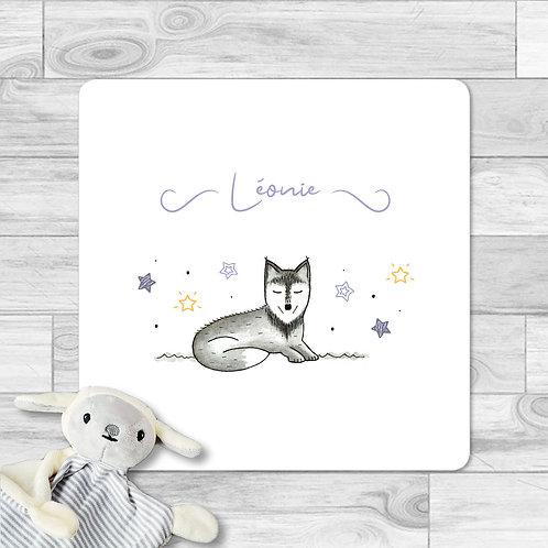 """Faire-part de naissance """"Mini loup"""" pour bébé fille. Le loup réalisé à l'aquarelle, étoiles, violet, lavande, game of thrones"""