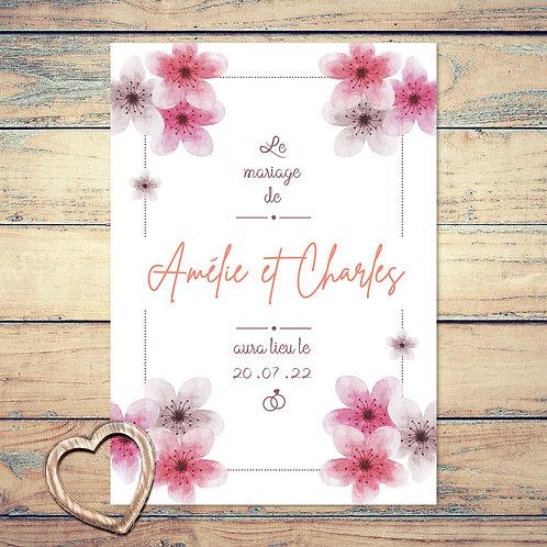 """Faire-part de mariage """"sakura"""". Les feuilles de cerisiers sont peint à l'aquarelle. Mariage champêtre chic."""