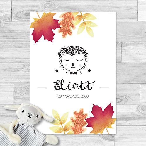 """Faire-part de naissance """"Little choupisson"""" pour bébé garçon. Hérisson, feuilles d'automne aquarelle, rouge, orange, automne."""