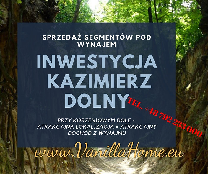 Kazimierz Dolny - Inwestycja w 4 apartamenty na wynajem
